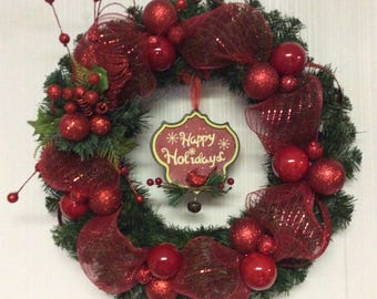 Christmas Wreath Red, Holiday Wreath, Christmas Wreath, Traditional Wreath, Red Wreaths