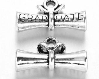 10 Diploma Graduation University Antique Silver Charms 21mm x 13mm (837)