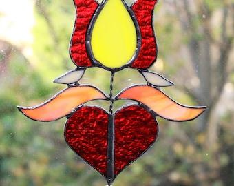 Folkloric tulip with heart suncatcher