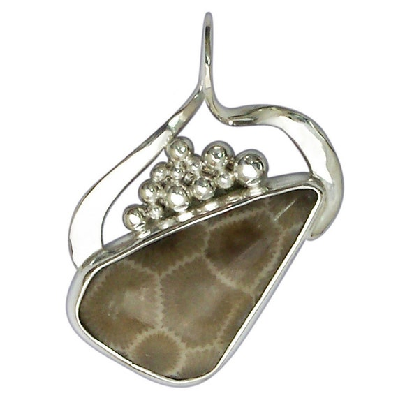 Petoskey Stone Pendant set in Sterling Silver, Hand Crafted, One of a Kind  ppkyf3025