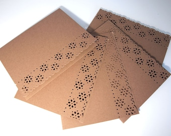 Flower Laced Greeting Cards - Note Card Set of 5 - Paper Laced Kraft - Ready to Decorate - A2 Size