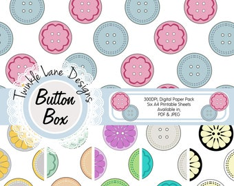 Buttons, Digital Papers, Sewing, Six A4 Pages, Papercraft, Papercrafting Paper, Printable, Cardmaking, Button, Digital Paper Pack, Crafts