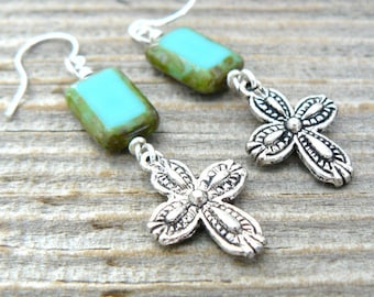 Silver Cross Earrings, Turquoise and Silver Dangles, Aqua Picasso Glass Rectangle Bead and Cross, Southwestern Jewelry, Boho Style