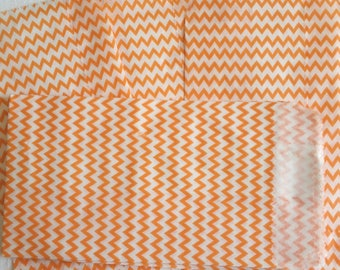 Orange and White Mini Striped zigzag chevron Paper Bag- Gift Bag, Notion Bag, Party Favor, Party Supply, Shop Supply, Treat Bag, Merchandise