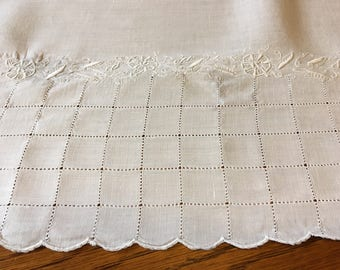 Very fine, vintage soft blue hemstitched table cloth