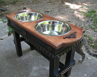 Cherry Stained Top Elevated Pet Feeder, Large Dogs Feeding Station, Dog Bowls, Two quart stainless Dog Bowls Made To Order