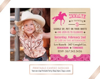 Cowgirl Birthday Invitation, Rustic Cowgirl Party, Horse Birthday, Pink Cowgirl, Vintage Cowgirl Invite, DIY Custom Printable