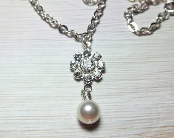 Pearl Necklace Rhinestone Jewelry Women's Gift For Her Flower Mom Girlfriend Sister