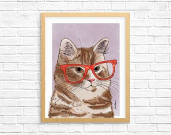 Cat Art Print, Orange Tabby Art, Cat Wall Art, Cat Lover Gift, Pet Portrait, Dorm Decor, Home Decor, Office Decor, Nursery Art