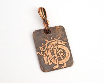 Celtic stag pendant, small rectangular flat copper jewelry, etched metal, optional necklace, 25mm