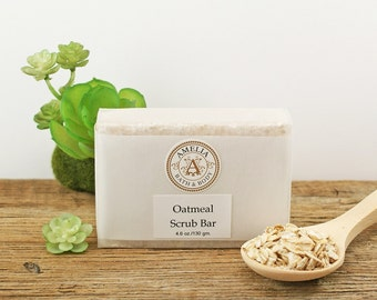 Oatmeal Soap | Natural Soap, Body Scrub, Exfoliating Soap, Unscented Soap, Scent Free, Womens Soap, Vegan Soap for Men | Oatmeal Scrub Bar