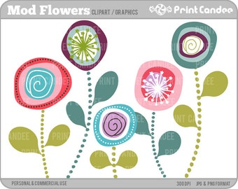 70% OFF SALE! - Mod Flowers -  Digital Clip Art - Personal and Commercial Use Clip Art - scrapbooking, card making, party, design elements