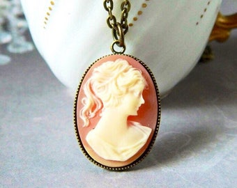 Carnelian Woman Cameo Pendant Lady Cameo Necklace Mother's Day Gift Cameo Necklace Victorian Cameo Coral Girl Cameo Silhouette Antique Brass