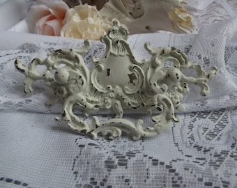 1 Large Vintage Victorian French Provincial Rococo Shabby Chic Ivory Distressed Heavy Brass Drawer Pulls