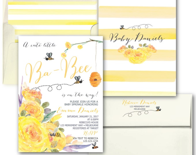 Bee Baby Sprinkle Invitation // Yellow Baby Shower Invitation // Stripes // Floral // Bees // Black // Watercolor // MELBOURNE COLLECTION