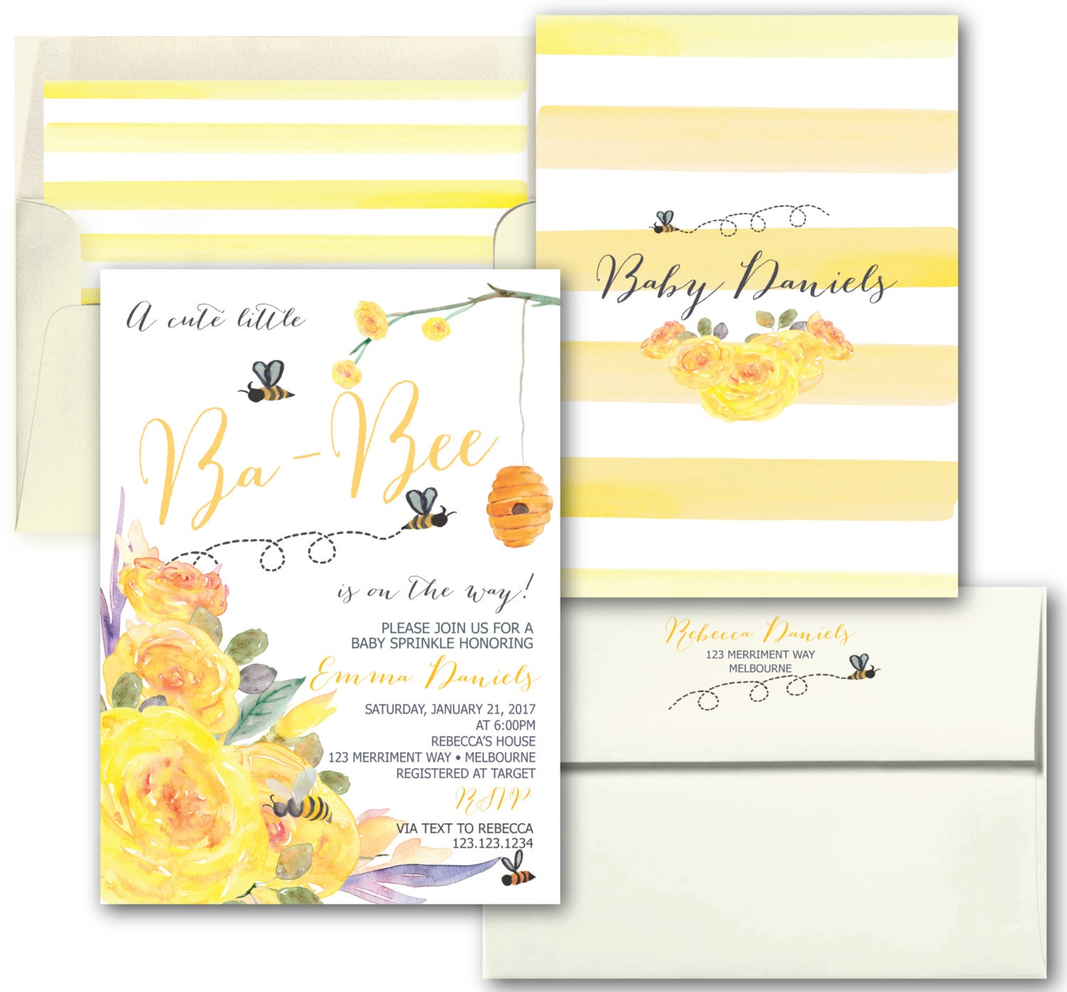 Bee Baby Sprinkle Invitation // Yellow Baby Shower Invitation ...