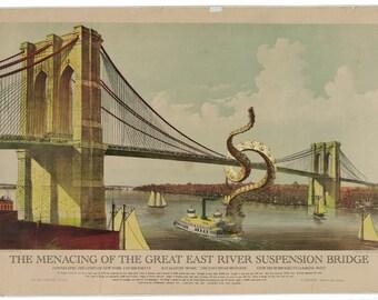 Art Print: Brooklyn Bridge Under Attack, Digital Print Octopus Tentacles, Brooklyn Bridge Art