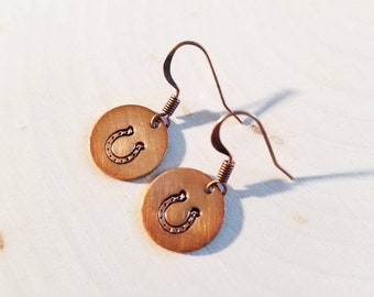 Horseshoe Stamped Copper Dangle Earrings/ Love for Horses