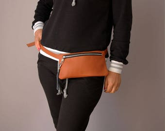Fanny Pack,  Leather Pouch Belt, Hip Bag, Leather Waist Bag, Leather Pouch, Belt bag, Fanny Pack, Leather Woman Bag NO 15