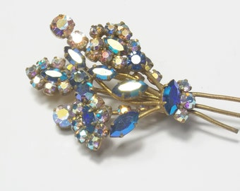 1950's Vintage Aurora Borealis  Blue Marquise Rhinestone Spring Floral Bouquet Mid Century Costume Jewelry BROOCH / Pin Gift For Her