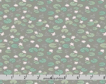 Lily Pad Fabric, Lewis & Irene Down by the River A223 3 Lily Pads on Pebble, Grayish Brown, Floral Quilt Fabric, Cotton Yardage