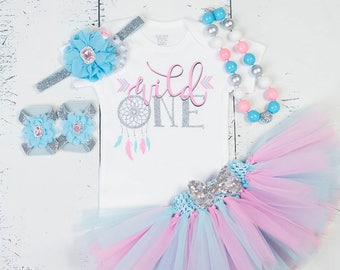 FIRST BIRTHDAY Baby Girl Tutu Outfit,Turquoise Pink Silver Glitter Feather Dream Catcher Cake Smash Photo Bodysuit,Headband,Necklace,Sandal