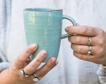Türkis Kaffeetasse, große Kaffeebecher, hoch Kaffeetasse, große Tee-Tasse, große Teetasse, Keramik-Becher, handgemachte Kaffeetasse, Keramik Kaffeebecher