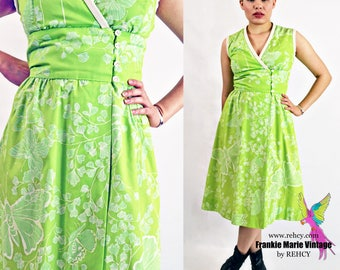 VTG-70s, Gorgeous, Vintage, 1970s, Bright Green, Surplice Wrap Style, with Handscreened Print and flared skirt, Handmade - Size Small