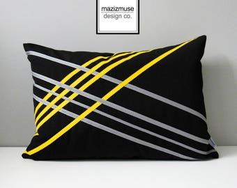 Decorative Black & Yellow Outdoor Pillow Cover, Geometric Pillow Cover, Modern Sunflower Yellow Sunbrella Cushion Cover, Mazizmuse