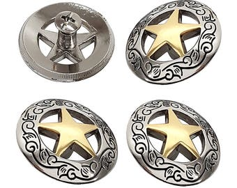 """Set of Four 1 1/8"""" Silver Engraved Gold Star Concho W/ Screw"""