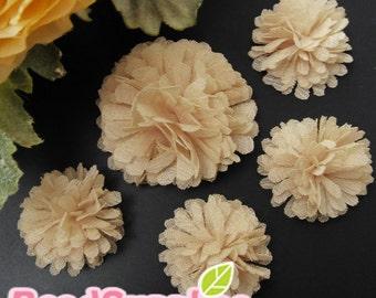 FA-FL-02002s - Fabric Pom Pom (S&M), beige, 4 pcs