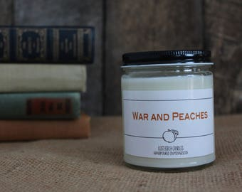 War and Peaches - Book Inspired Scented Soy Candles -  8oz glass jar