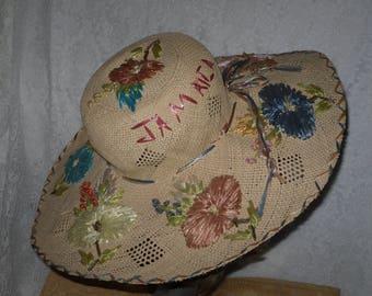 Souvenir Straw & Raffia Hat Wide Brim Jamaica Novelty Beach Vintage