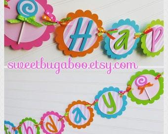 Sweet Treats Birthday banner. Candyland banner.  Candy Land banner.  Candy Birthday Party. Girls Birthday Banner. Happy Birthday Banner