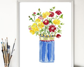 art print Buttercups bouquet in  vase,  watercolor print , floral art print, Flower art, colorful art, mothers day, fresh wall decor