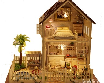 Miniature Dollhouse  DIY Kit Paris Apartment with LED Light and Music Box Cute Room House Model Paris Apartment