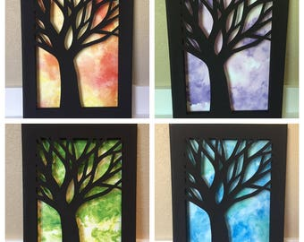 Watercolor Tree Carved Canvas