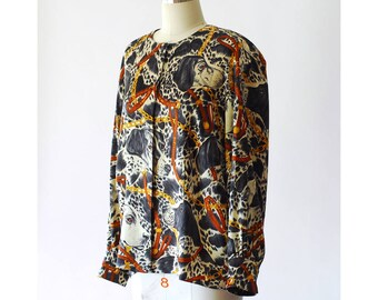 vintage Escada dog and chain print silk blouse / size medium large