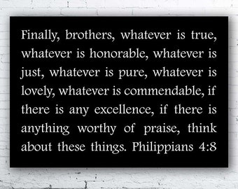 Think On These Things, Philippians 4:8, Canvas