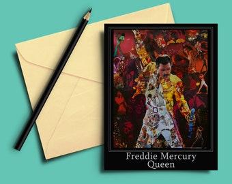 Freddie Mercury of Queen Collage Greeting card