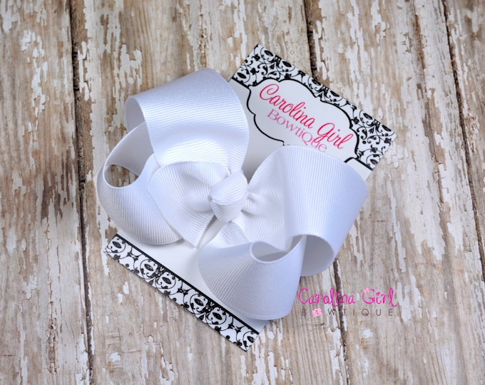 White Boutique Hair Bow ~ 4 in. Bow ~Big Hair Bows ~  Girl Hair Bows ~ Everyday Hair Bow ~ Back to School Bow