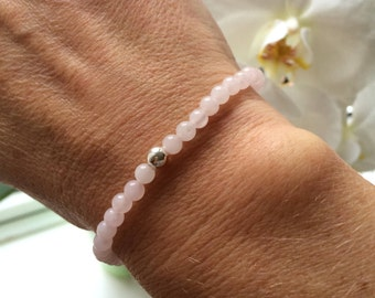 Rose Quartz STRETCH Bracelet Sterling Silver or Gold Fill - January Birthstone jewelry - Chakra Healing gift