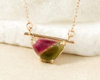 Gold Watermelon Tourmaline Horizontal Necklace - Choose Your Tourmaline - Bar Necklace