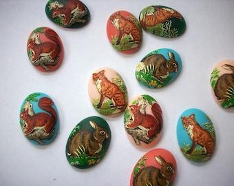 4 Handmade Fox Cameos 25 x 18 mm