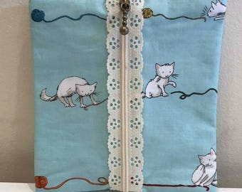 Kitty with Yarn - Lace Zip Notions Pouch/Coin Purse