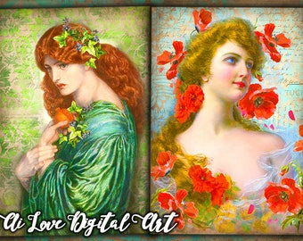 Digital collage sheet cards printable images Lady with Flowers, instant download
