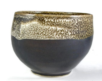 Espresso Black Stoneware Bowl - Soup Bowl Holds  (3 1/2 cups)  - Handmade Pottery Serving Bowl - Wheel Thrown Ceramic Clay - Ships Today