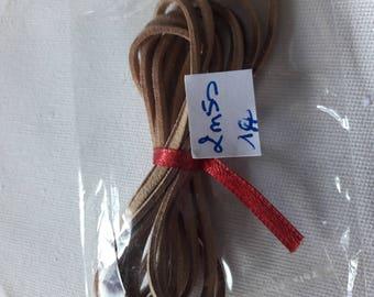2metre 50 light brown flat suede cord