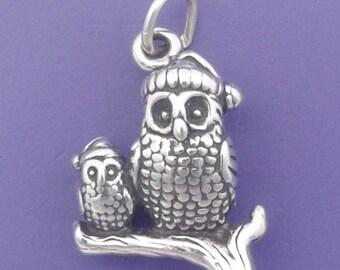 OWLS In Santa HATS Charm .925 Sterling Silver, Christmas Birds Pendant - lp3582
