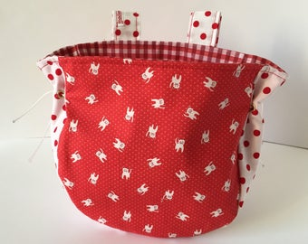 Bicycle basket for girls handlebar basket open red cat dots
